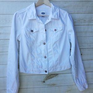 Old Navy M white cotton denim jacket EUC